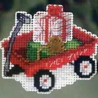 Red Wagon Beaded Christmas Ornament Kit Mill Hill 2013 Winter Holiday
