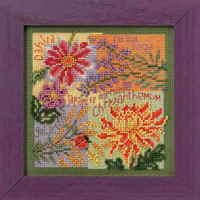 Fall Blooms Cross Stitch Kit Mill Hill 2010 Buttons & Beads Autumn