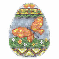 Butterfly Egg Beaded Cross Stitch Kit Mill Hill 2014 Spring Bouquet