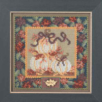 White Pumpkins Cross Stitch Kit Mill Hill 2014 Buttons & Beads Autumn