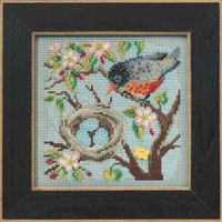 Spring Robin Cross Stitch Kit Mill Hill 2015 Buttons Beads Spring MH145103