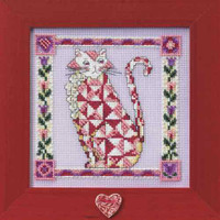 Scarlet Beaded Cross Stitch Kit Mill Hill 2008 Jim Shore Quilted Cats