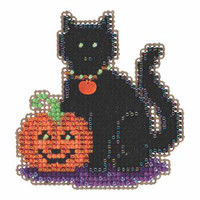 Wendy's Cat Beaded Cross Stitch Kit Mill Hill 2015 Autumn Harvest MH185206