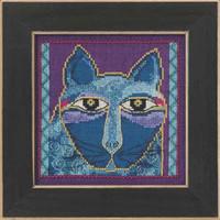 Wild Blue Cat Cross Stitch Kit Aida Mill Hill 2015 Laurel Burch LB305112