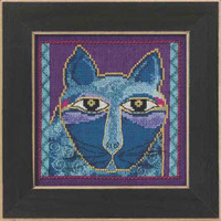 Wild Blue Cat Cross Stitch Kit Linen Mill Hill 2015 Laurel Burch LB305102