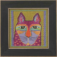 Wild Pink Cat Cross Stitch Kit Linen Mill Hill 2015 Laurel Burch LB305103