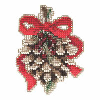Pinecone Beaded Christmas Ornament Kit Mill Hill 2015 Winter Holiday MH185304