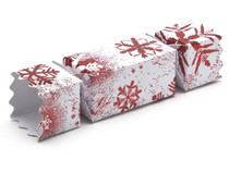 Small Twist End Cracker - Red and White Snowflake | Meridian Speciality Packaging