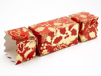 Medium Twist End Cracker - Red and Gold Holly | Meridian Speciality Packaging