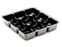 9 Choc Square Vac-Forme Tray - Black | Meridian Speciality Packaging