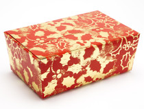 750g Ballotin - Red and Gold Holly | Meridian Speciality Packaging