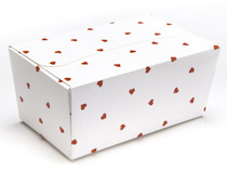 500g Ballotin - White Red Heart | Meridian Speciality Packaging