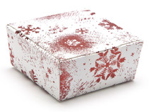 4 Choc Ballotin - Red and White Snowflake | Meridian Speciality Packaging