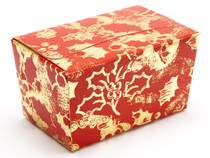 250g Ballotin - Red and Gold Holly | Meridian Speciality Packaging