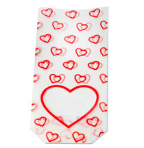 Frosted heart window bag - hard bottom - 100x220mm | Meridian Speciality Packaging