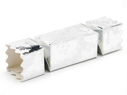 Small Twist End Cracker - Silver Snowflake | Meridian Speciality Packaging
