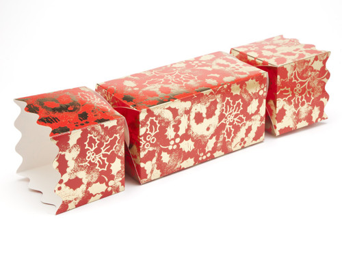 Giant Twist End Cracker - Red and Gold Holly | Meridian Speciality Packaging