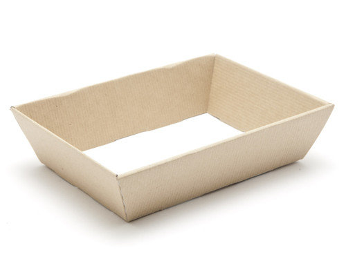 Hamper Tray - Small Shallow Card Tray Hamper - Premium Brown Ribbed Kraft   Meridian Speciality Packaging