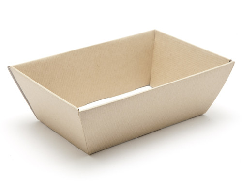 Hamper Tray - Small Card Tray Hamper - Premium Brown Ribbed Kraft | Meridian Speciality Packaging