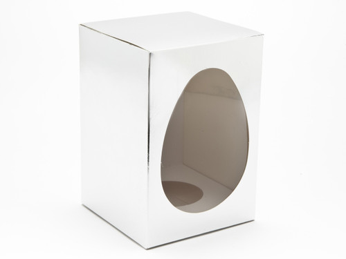 Medium Br Silver Easter Egg Carton and Plinth | Meridian Speciality Packaging