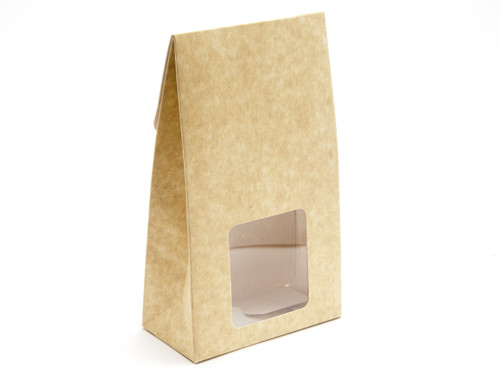 Large Natural A-Frame Carton with Sq. PVC Window | Meridian Speciality Packaging