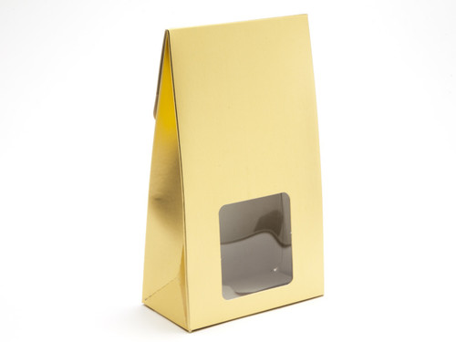 Large Matt Gold A-Frame Carton with Sq. PVC Window | Meridian Speciality Packaging