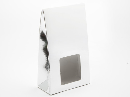 Large Bright Silver A-Frame Carton with Sq. PVC Window | Meridian Speciality Packaging
