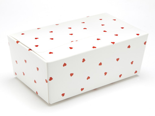 750g Ballotin - White Red Heart | Meridian Speciality Packaging