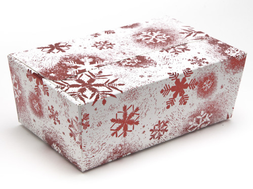750g Ballotin - Red and White Snowflake | Meridian Speciality Packaging