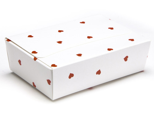 6 Choc Ballotin - White Red Heart | Meridian Speciality Packaging