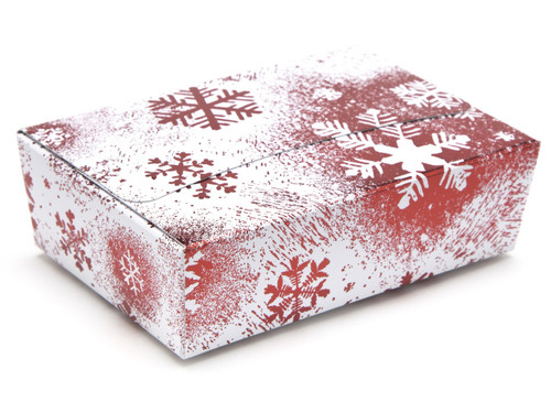 6 Choc Ballotin - Red and White Snowflake | Meridian Speciality Packaging