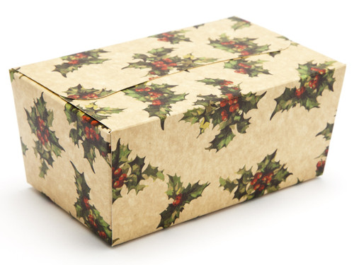 500g Ballotin - Kraft Holly | Meridian Speciality Packaging