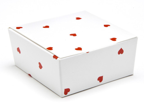 4 Choc Ballotin - White Red Heart | Meridian Speciality Packaging