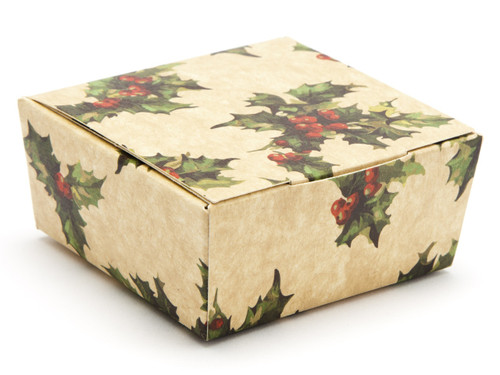4 Choc Ballotin - Kraft Holly   Meridian Speciality Packaging
