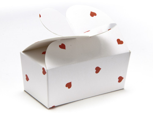 2 Choc White Red Heart B'fly Ballotin | Meridian Speciality Packaging