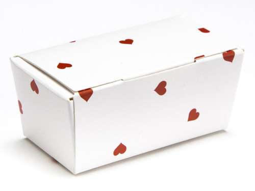 2 Choc Ballotin - White Red Heart | Meridian Speciality Packaging