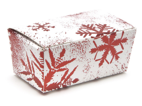 2 Choc Ballotin - Red and White Snowflake | Meridian Speciality Packaging