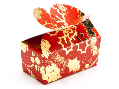 2 Choc Red and Gold Holly B'fly Ballotin | Meridian Speciality Packaging
