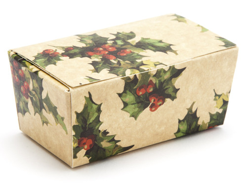 2 Choc Ballotin - Kraft Holly | Meridian Speciality Packaging