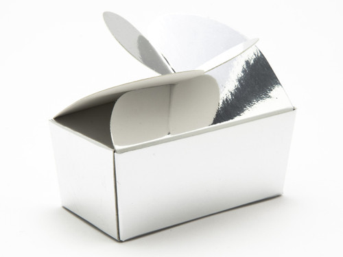 2 Choc Bright Silver Butterfly Ballotin   Meridian Speciality Packaging
