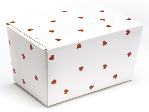 250g Ballotin - White Red Heart | Meridian Speciality Packaging