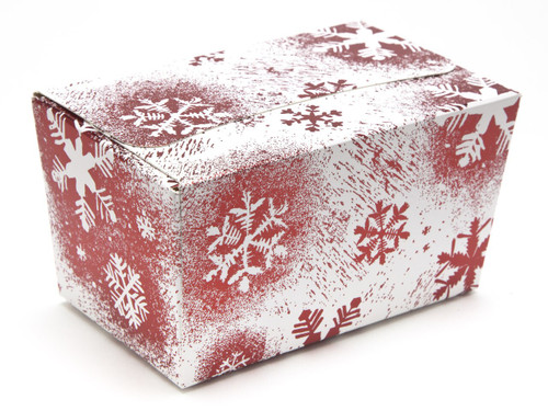 250g Ballotin - Red and White Snowflake   Meridian Speciality Packaging