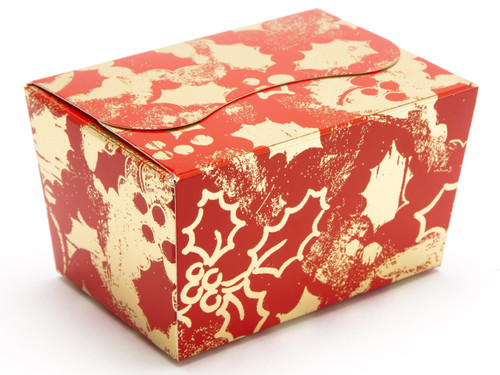 125g Ballotin - Red and Gold Holly | Meridian Speciality Packaging