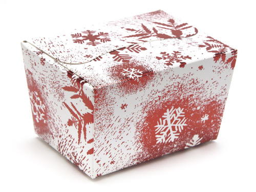 100g Ballotin - Red and White Snowflake   Meridian Speciality Packaging