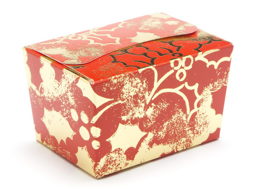100g Ballotin - Red and Gold Holly | Meridian Speciality Packaging