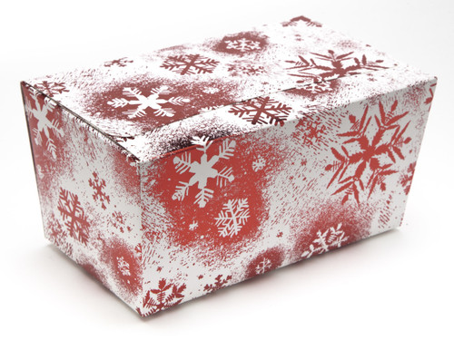 1000g Ballotin - Red and White Snowflake   Meridian Speciality Packaging