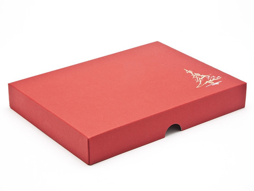 Elegant premium red embossed lid with metallic foiled Christmas tree design - for 24 chocolates