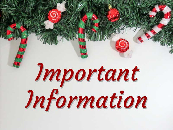 Important Information  - posted November 2017