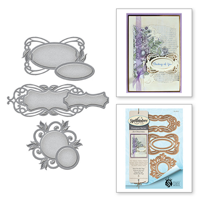 Shapeabilities Art Nouveau Style Nouille Tags Stacey Caron Etched Dies