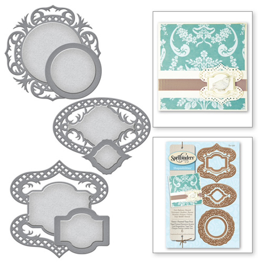 Shapeabilities Victorian Garden Fancy Framed Tags Four Etched Dies